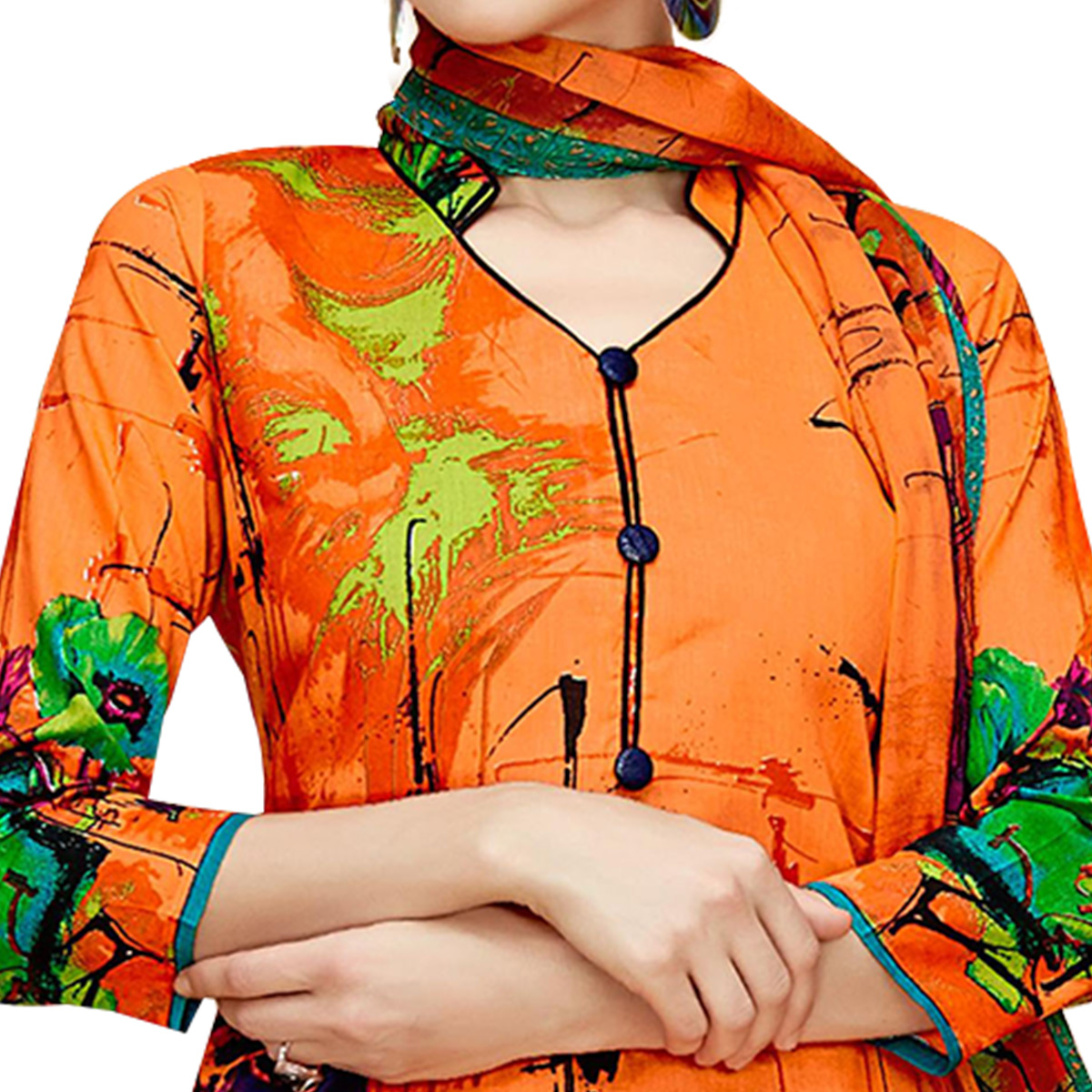 Amazing Orange Colored Casual Printed Cotton Dress Material