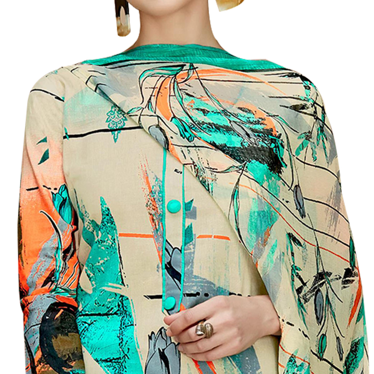 Pleasant Beige-Aqua Blue Colored Casual Printed Cotton Dress Material