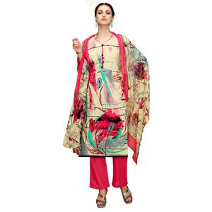 Gleaming Beige-Red Colored Casual Printed Cotton Dress Material