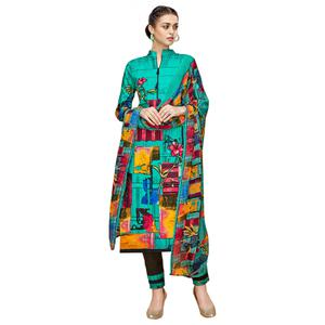 Attractive Turquoise Green Colored Casual Printed Cotton Dress Material