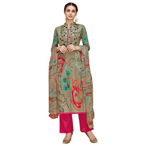 Beautiful Chiku Colored Casual Printed Cotton Dress Material