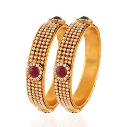 Gold plated maroon green pearl creative bangle