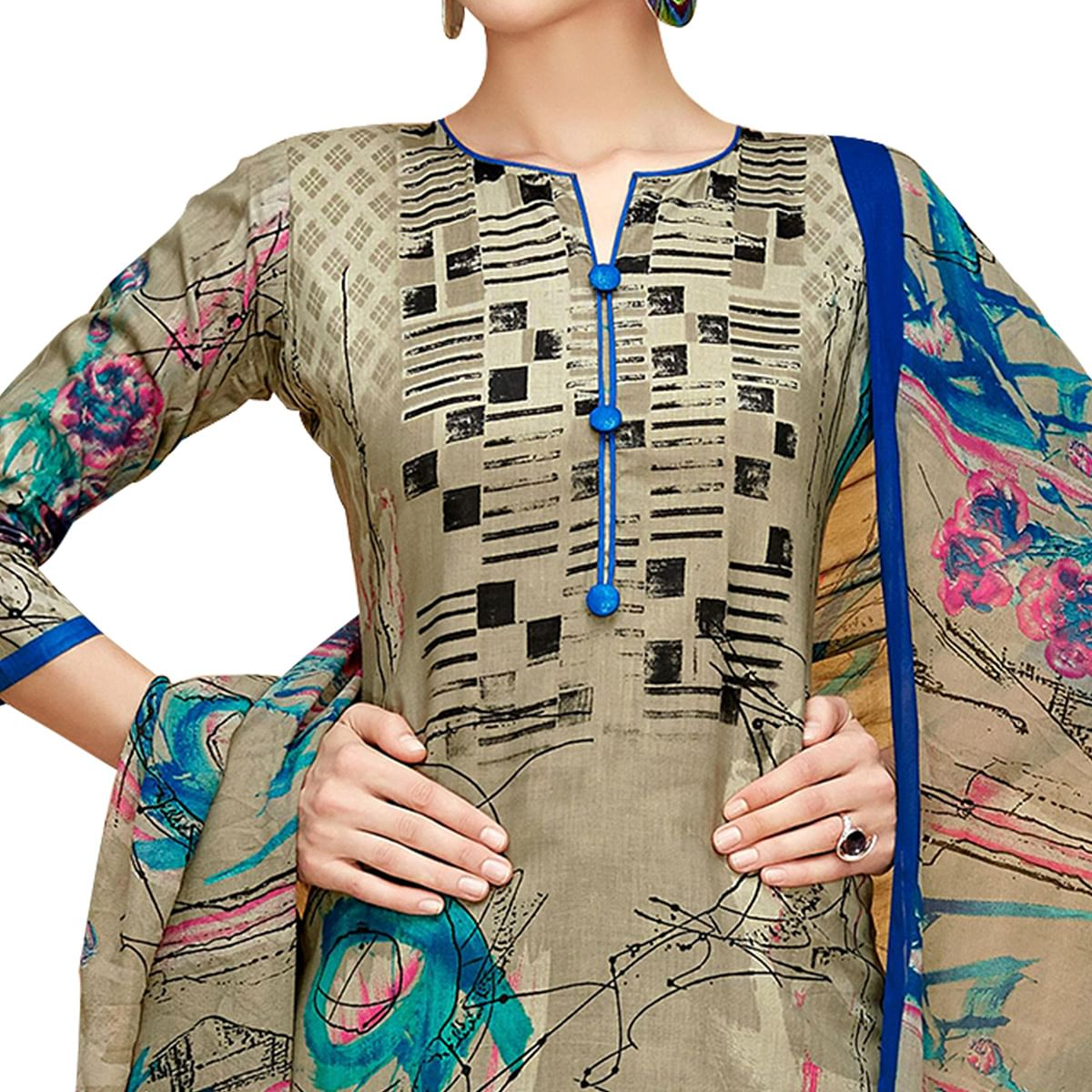 Stylish Chiku Colored Casual Printed Cotton Dress Material