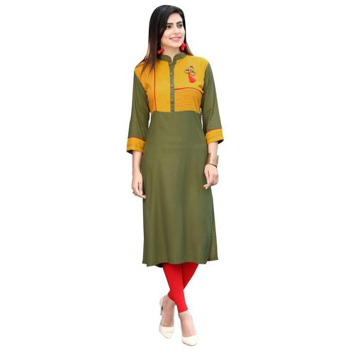 Attractive Yellow-Mehendi Green Colored Rayon Long Kurti