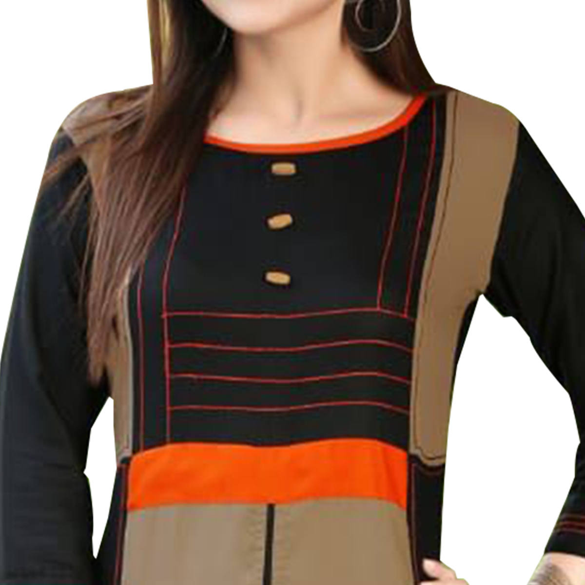Stunning Black-Gray Colored Rayon Long Kurti