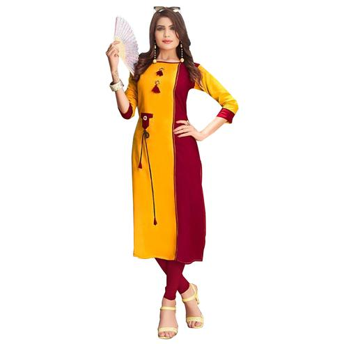 Gorgeous Maroon-Yellow Colored Rayon Long Kurti