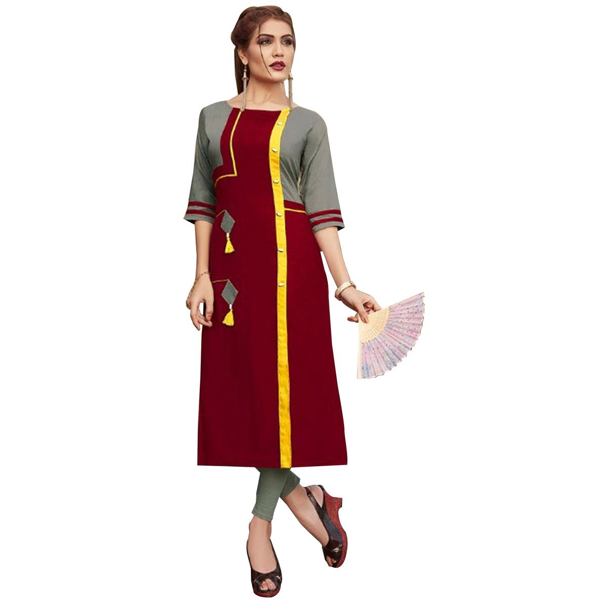 Stylish Maroon-Gray Colored Rayon Long Kurti