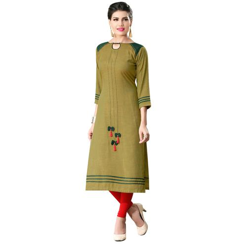 Unique Olive Green Colored Cotton Long Kurti