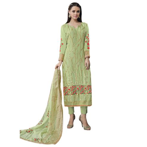 Eye-Catching Light Green Colored Partywear Embroidered Georgette Suit