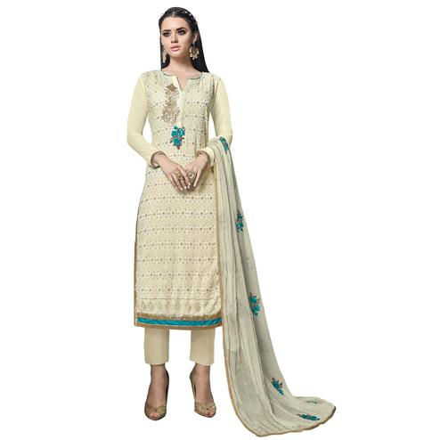 Pleasant Off White Colored Partywear Embroidered Georgette Suit