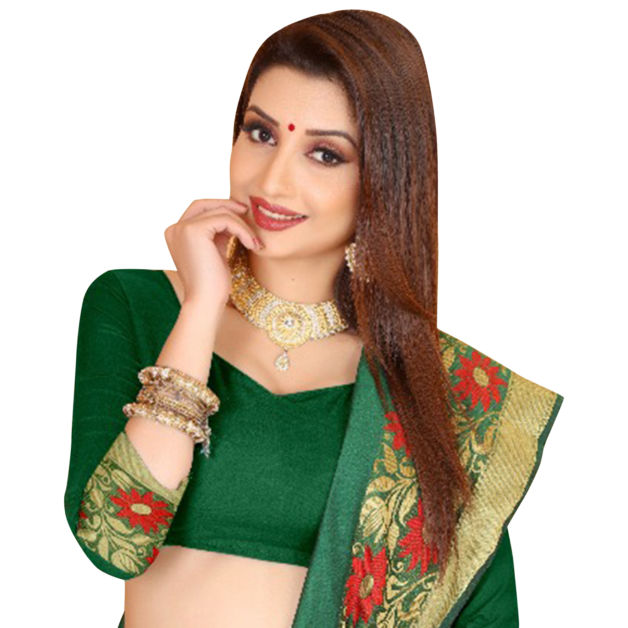 Refreshing Green Colored Festive Wear Woven Cotton Saree