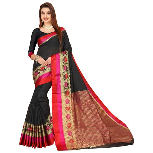 Attractive Black Colored Festive Wear Woven Cotton Saree