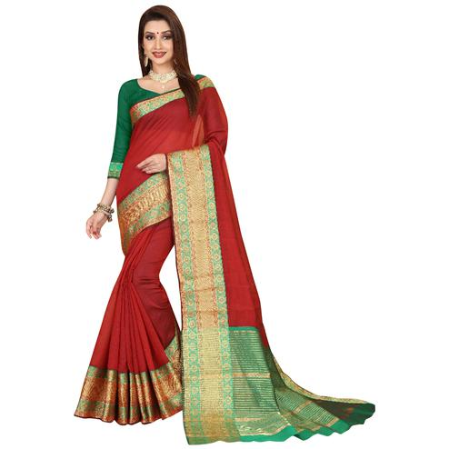 Glowing Red Colored Festive Wear Woven Cotton Saree