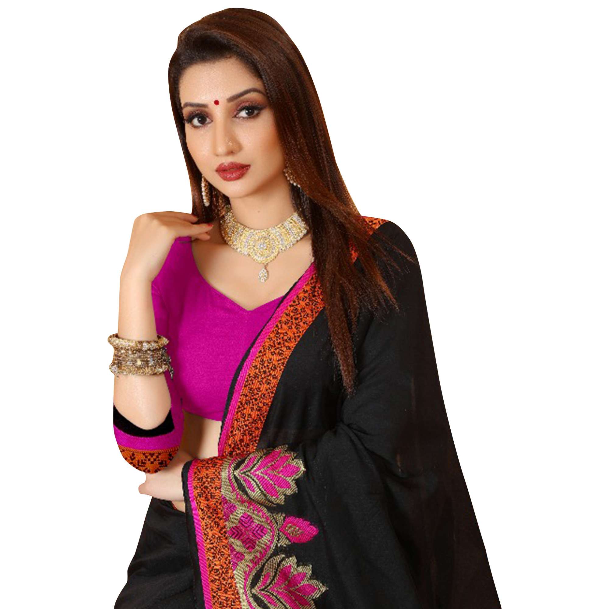 Adorning Black Colored Festive Wear Woven Cotton Saree