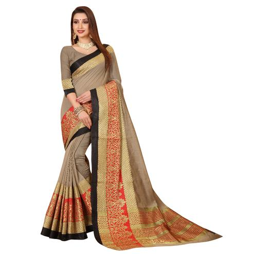 Pleasant Gray Colored Festive Wear Woven Cotton Saree