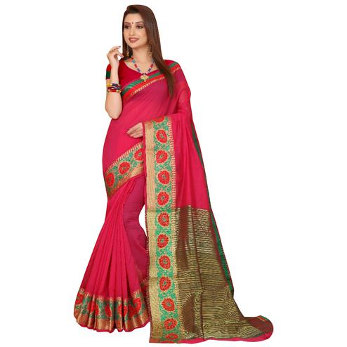 Excellent Fuschia Pink Colored Festive Wear Woven Cotton Saree