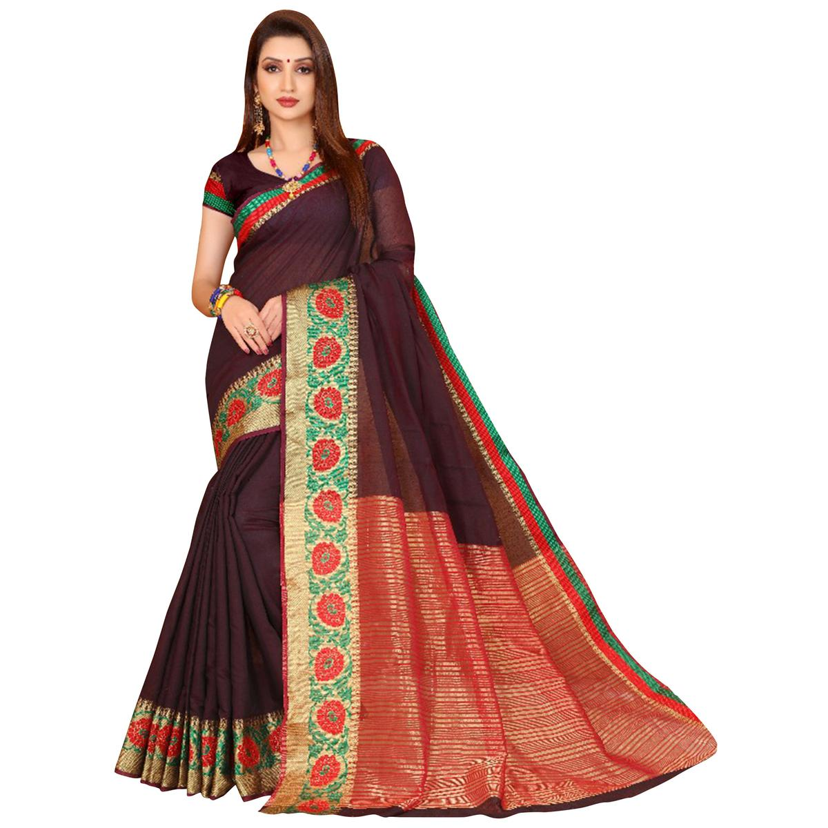 Dark Violet Colored Festive Wear Woven Cotton Saree