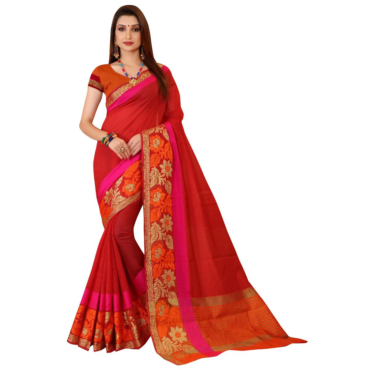 Amazing Red Colored Festive Wear Woven Cotton Saree