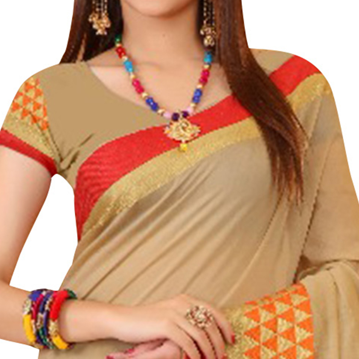 Trendy Beige Colored Festive Wear Woven Cotton Saree