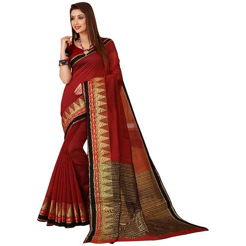 Lovely Maroon Colored Festive Wear Woven Cotton Saree