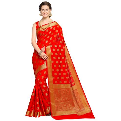 Glowing Red Colored Festive Wear Woven Art Silk Saree