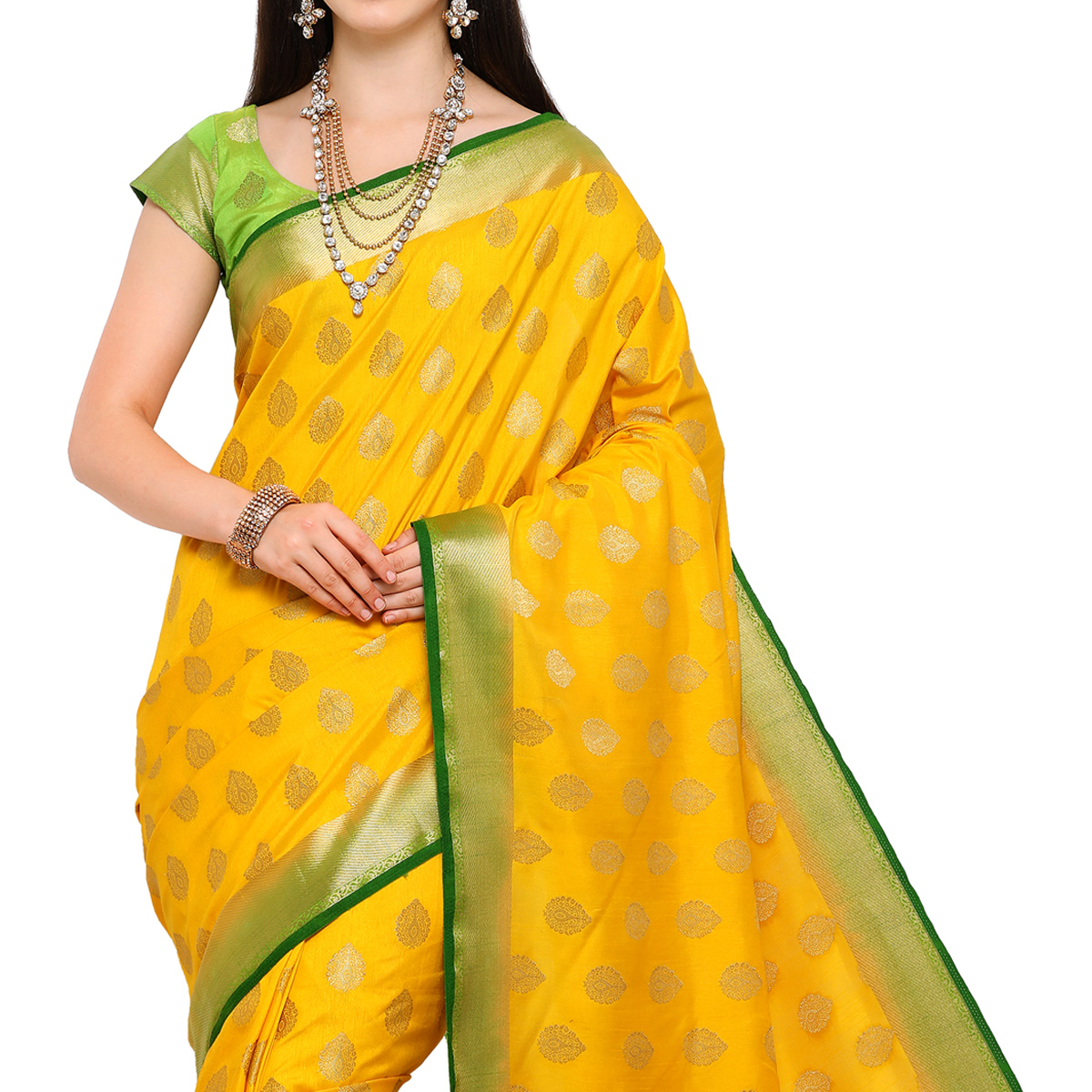 Attractive Yellow Colored Festive Wear Woven Art Silk Saree