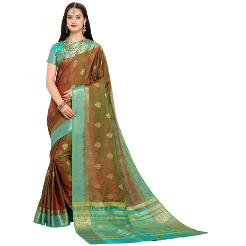 Groovy Brown Colored Festive Wear Woven Art Silk Saree