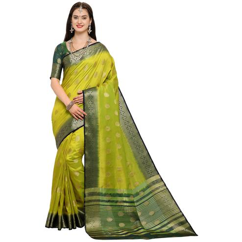 Staring Lemon Green Colored Festive Wear Woven Art Silk Saree