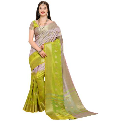 Unique Gray-Green Colored Festive Wear Woven Art Silk Saree