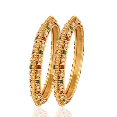 Gold plated maroon green white stone wedding bangle