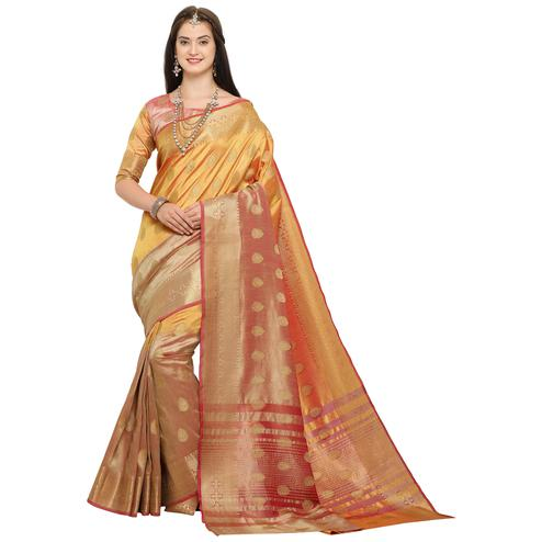 Pleasant Yellow Colored Festive Wear Woven Art Silk Saree
