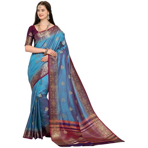 Gorgeous Blue Colored Festive Wear Woven Art Silk Saree