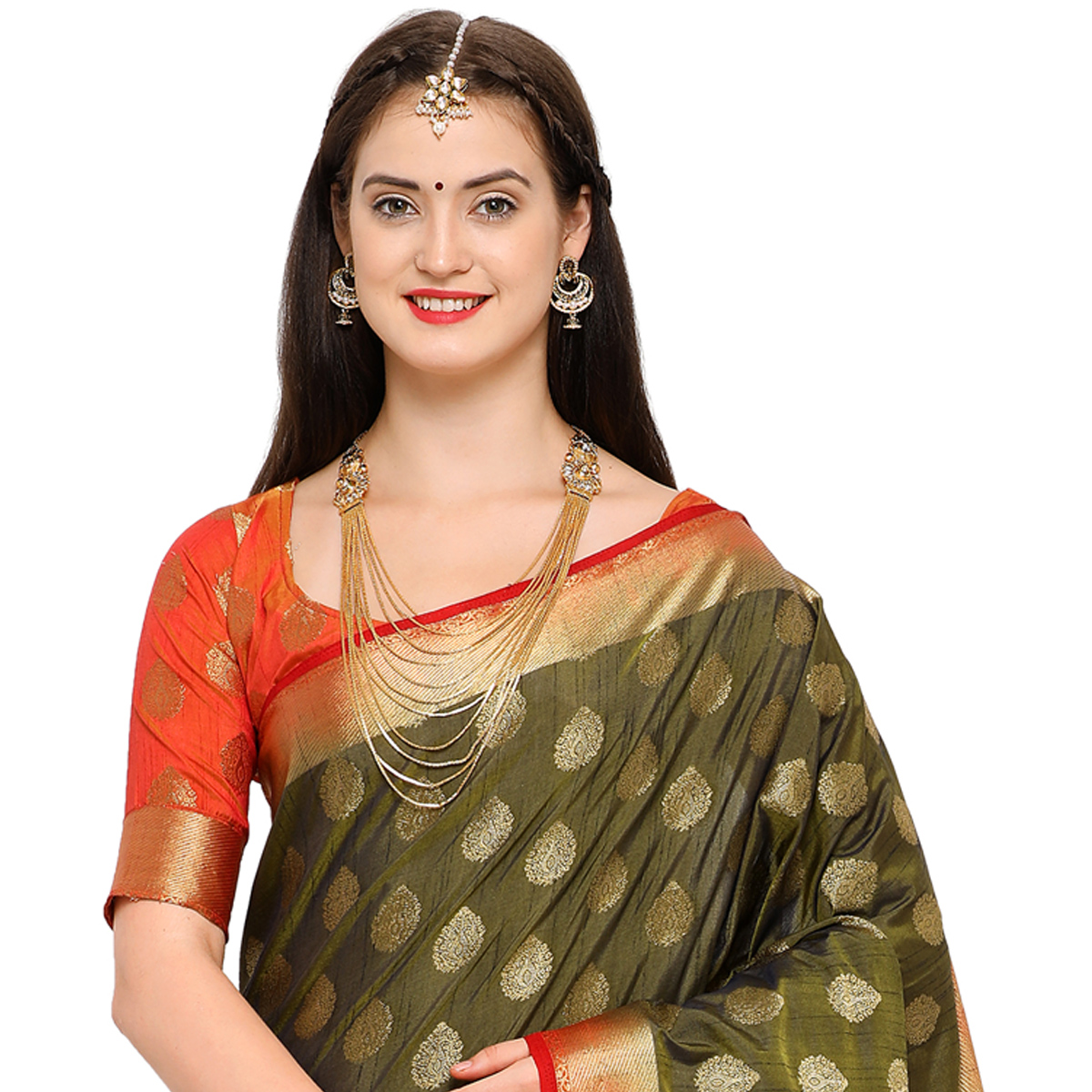 Different Mehendi Green Colored Festive Wear Woven Art Silk Saree