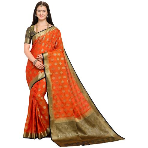 Traditional Orange Colored Festive Wear Woven Art Silk Saree