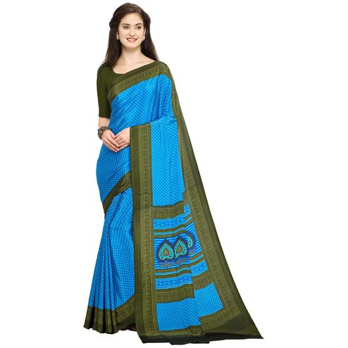 Staring Blue Colored Casual Printed Crepe Saree