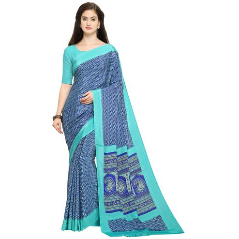 Beautiful Blue Colored Casual Printed Crepe Saree