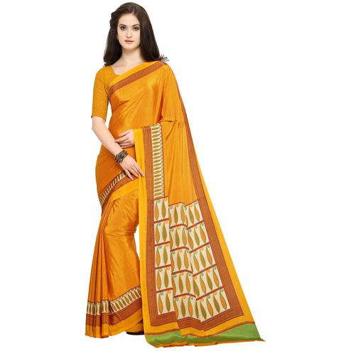 Glowing Orange Colored Casual Printed Crepe Saree