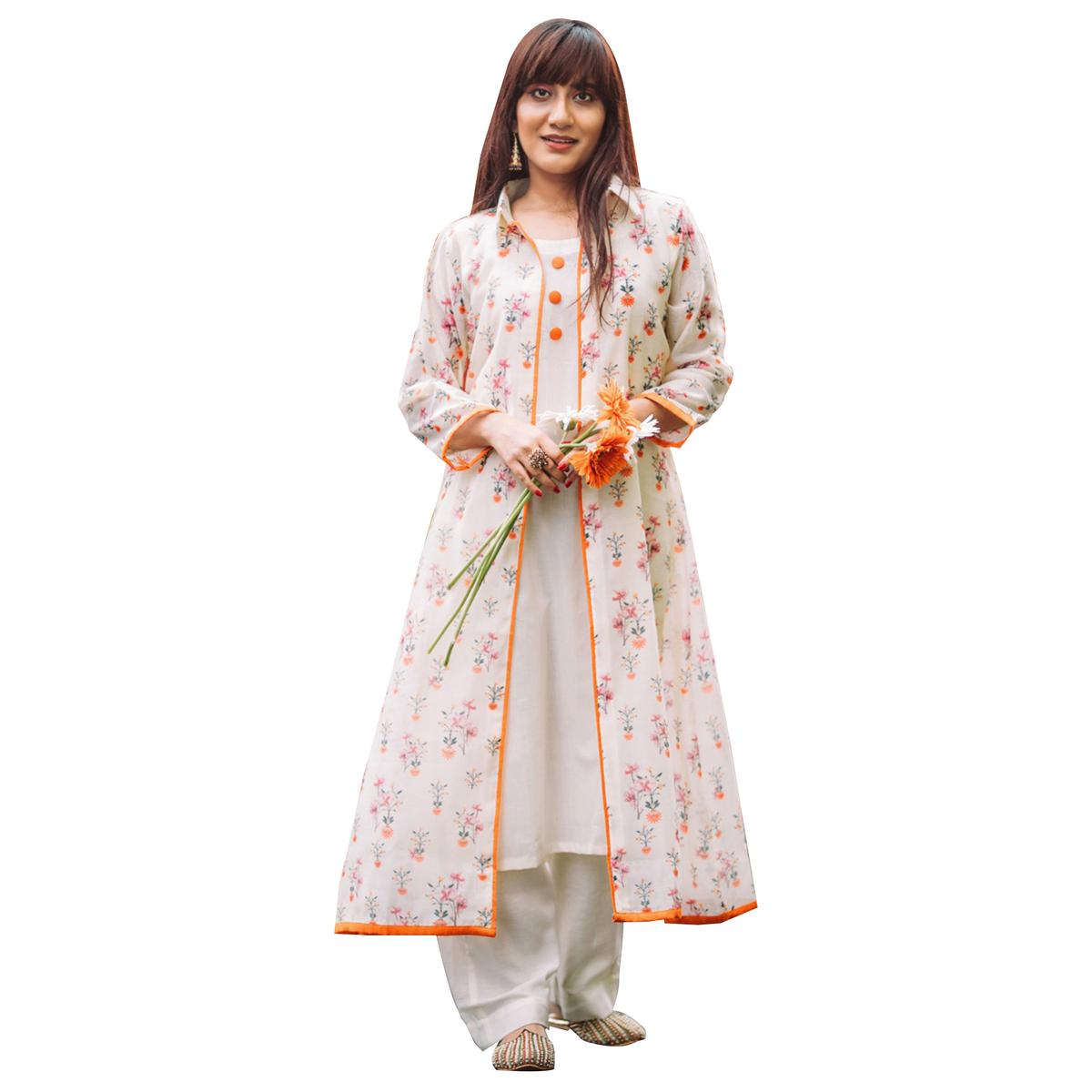 Appealing White Colored Partywear Printed Shrug Style Suit