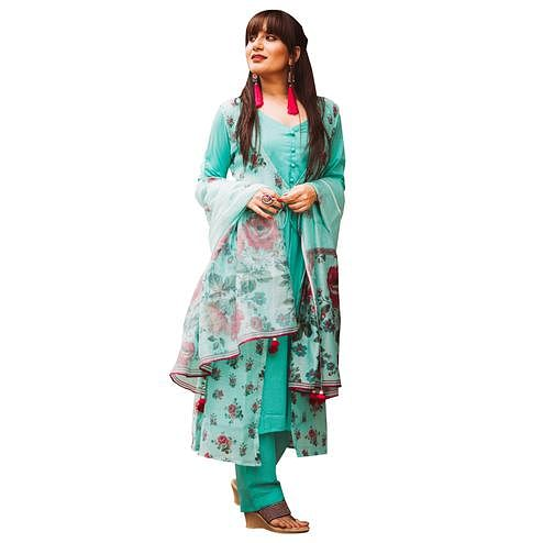 Refreshing Aqua Blue Colored Partywear Printed Shrug Style Suit