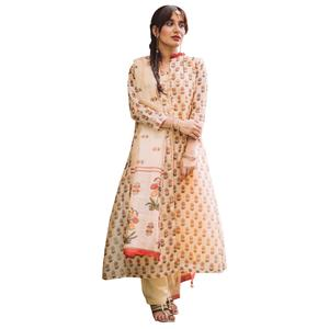 Pleasant Beige Colored Partywear Printed Shrug Style Suit