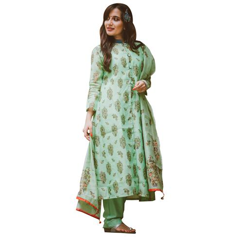 Attractive Mint Green Colored Partywear Printed Shrug Style Suit