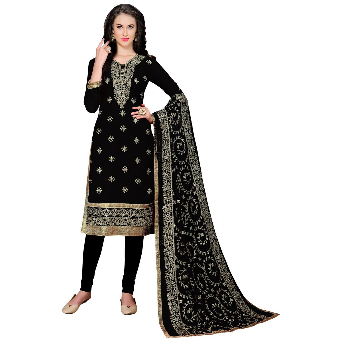 Flaunt Black Colored Partywear Embroidered Georgette Suit