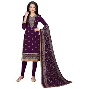 Adorning Purple Colored Partywear Embroidered Georgette Suit