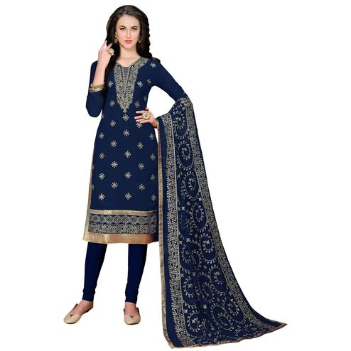 Desiring Blue Colored Partywear Embroidered Georgette Suit