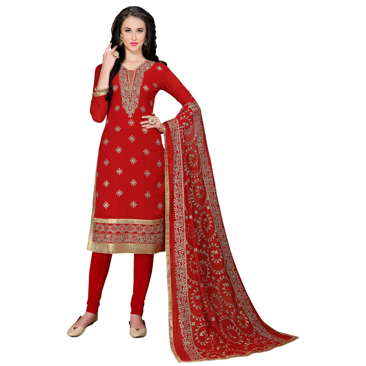 Trendy Red Colored Partywear Embroidered Georgette Suit
