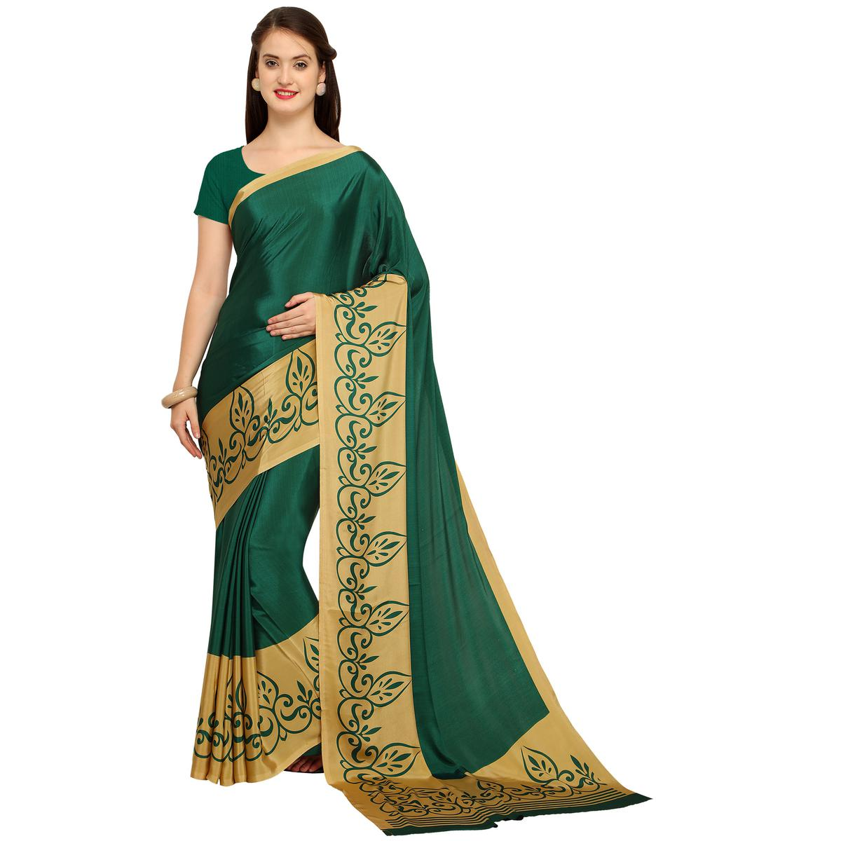 Attractive Dark Green Colored Casual Printed Crepe Saree