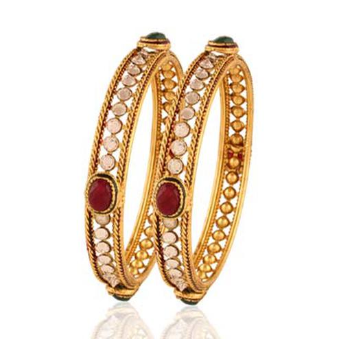 Gold plated maroon green white stone alluring bangle