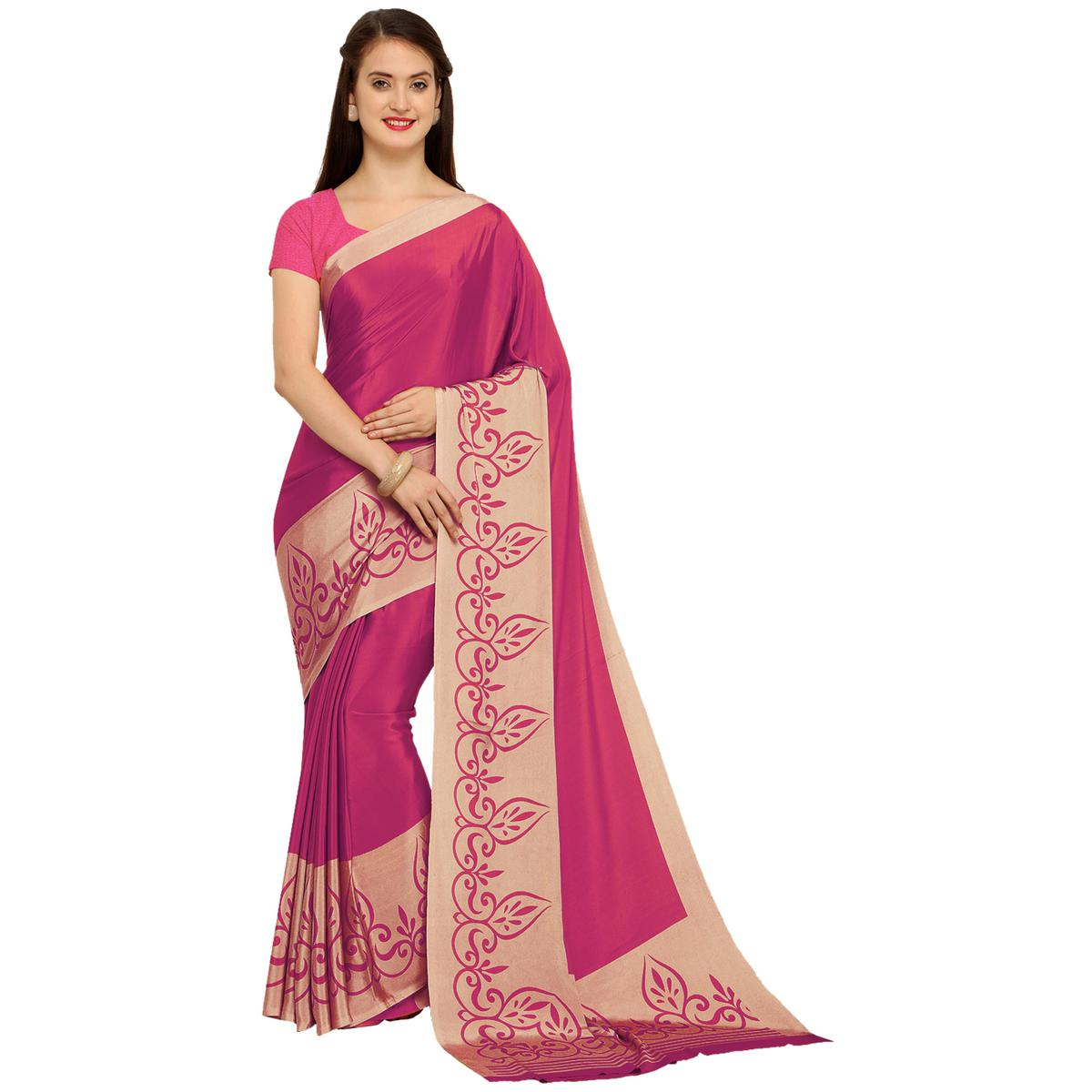 Perfect Pink Colored Casual Printed Crepe Saree