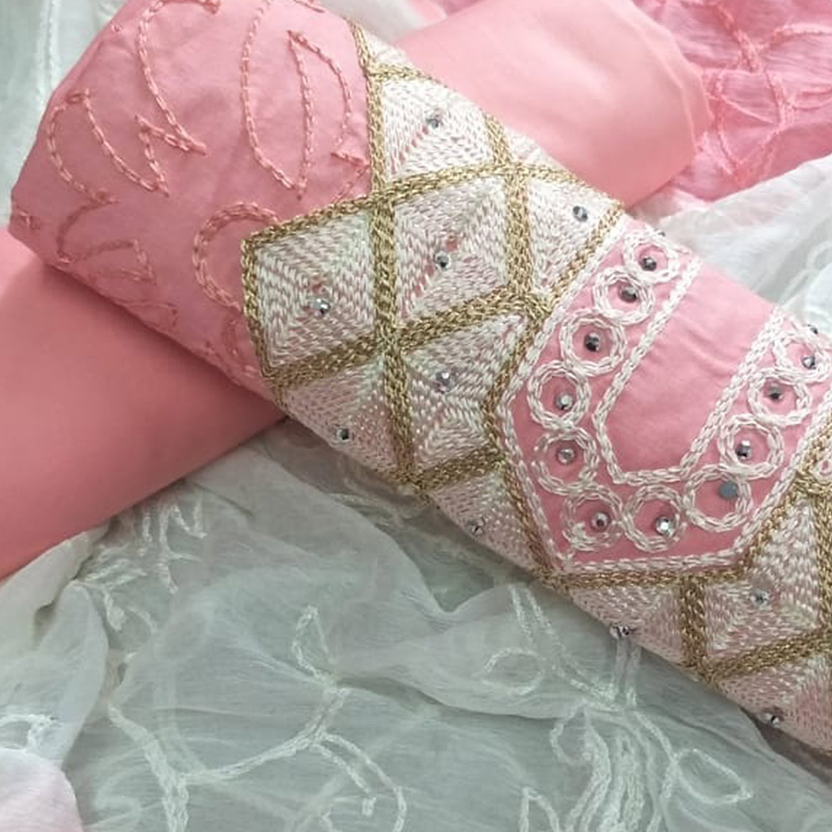 Pretty Peach Colored Partywear Embroidered Cotton Dress Material