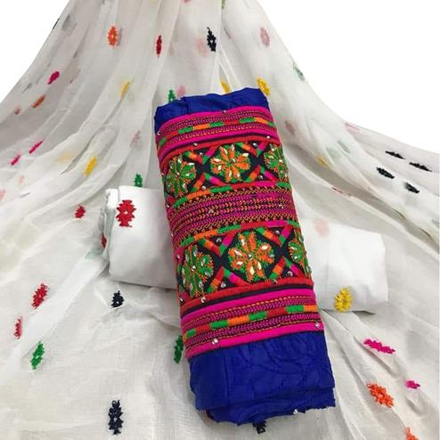 Adorning Blue Colored Partywear Embroidered Cotton Dress Material